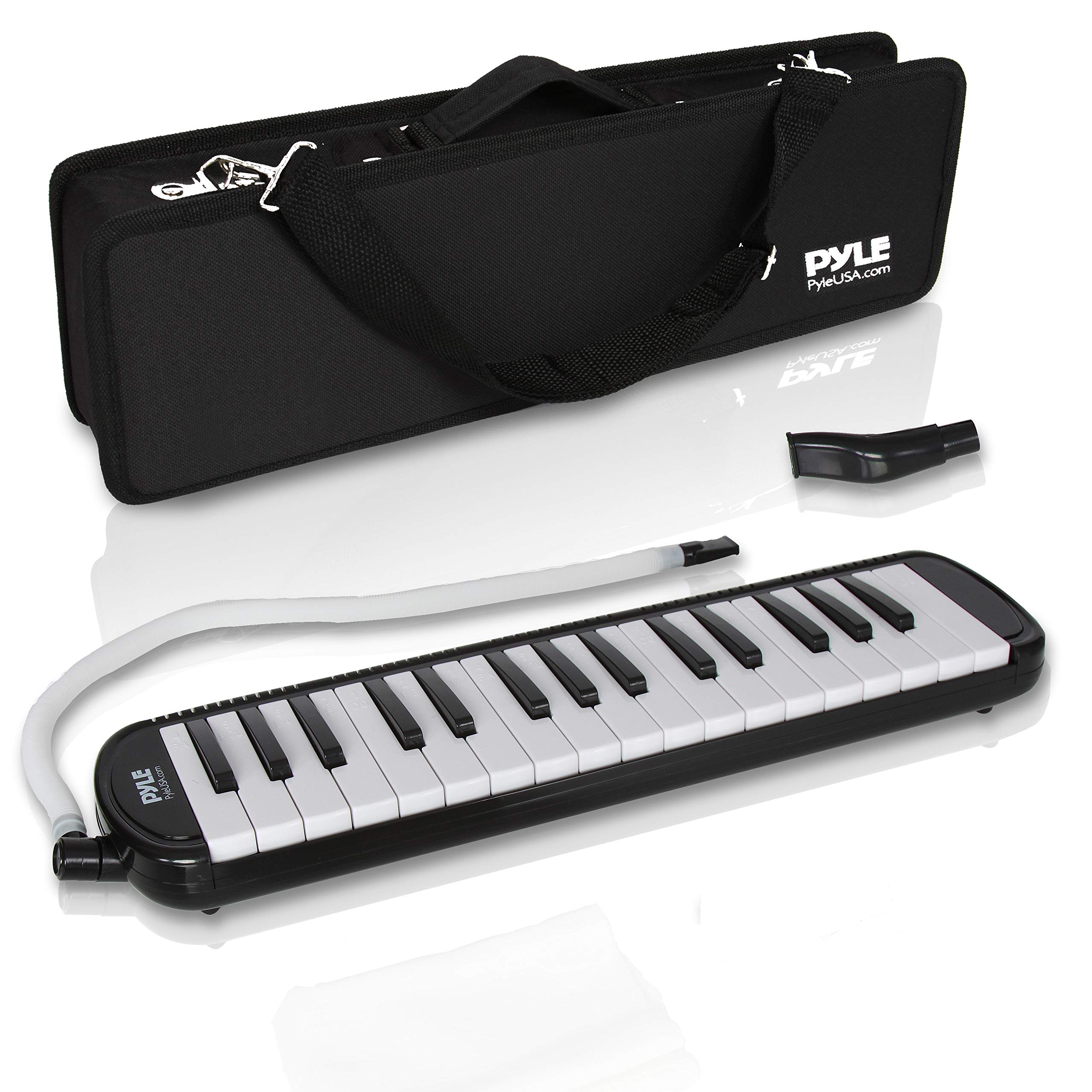 Professional Mouth Piano Melodica Instrument - Mouth Keyboard Piano Organ Melodica Set w/Mouthpiece, Tube Accessories, for Beginner or Band - Pyle (Black) by Pyle (Image #1)