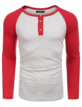 Hasuit Herren T Shirt Raglan Kontrast Langarm Shirt Slim Fit für Freizeit b5cf8b33f0