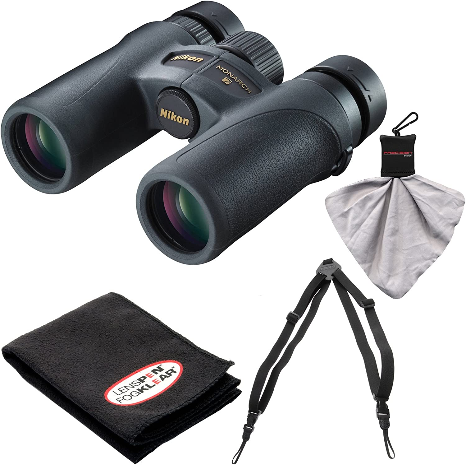 Nikon Monarch 7 8×30 ED ATB Waterproof Fogproof Binoculars with Case Easy Carry Harness Cleaning Cloth Kit