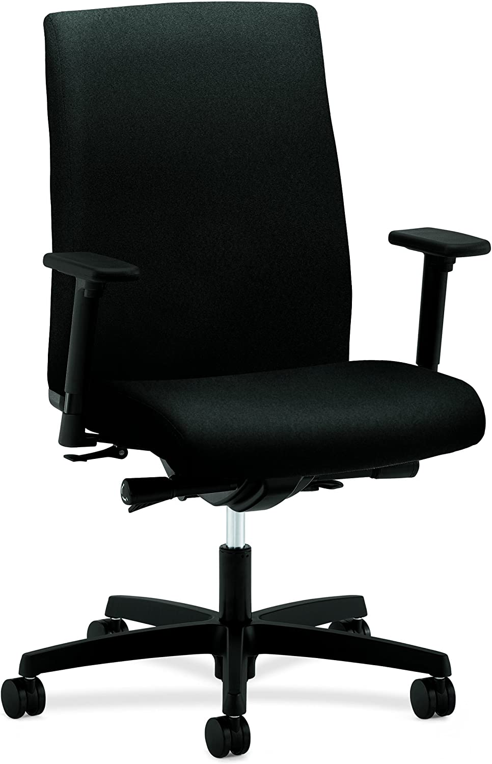 HON Ignition Series Mid-Back Work Chair – Upholstered Computer Chair for Office Desk, Black HIWM3
