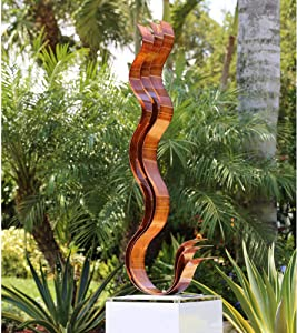 Statements2000 Outdoor Metal Sculpture Modern Centerpiece Table Decor by Jon Allen - Copper Transitions Flat Base
