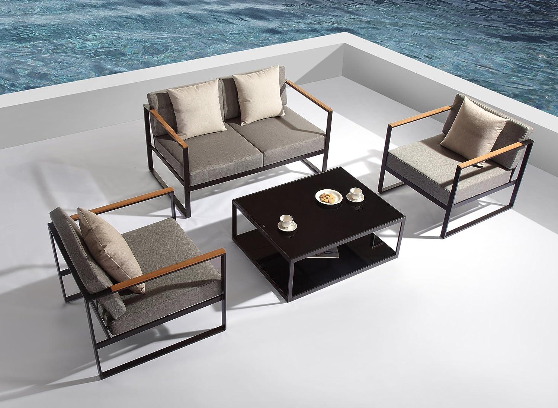 Salon de jardin en aluminium noir, 2 fauteuils, 1 canapé et 1 ...