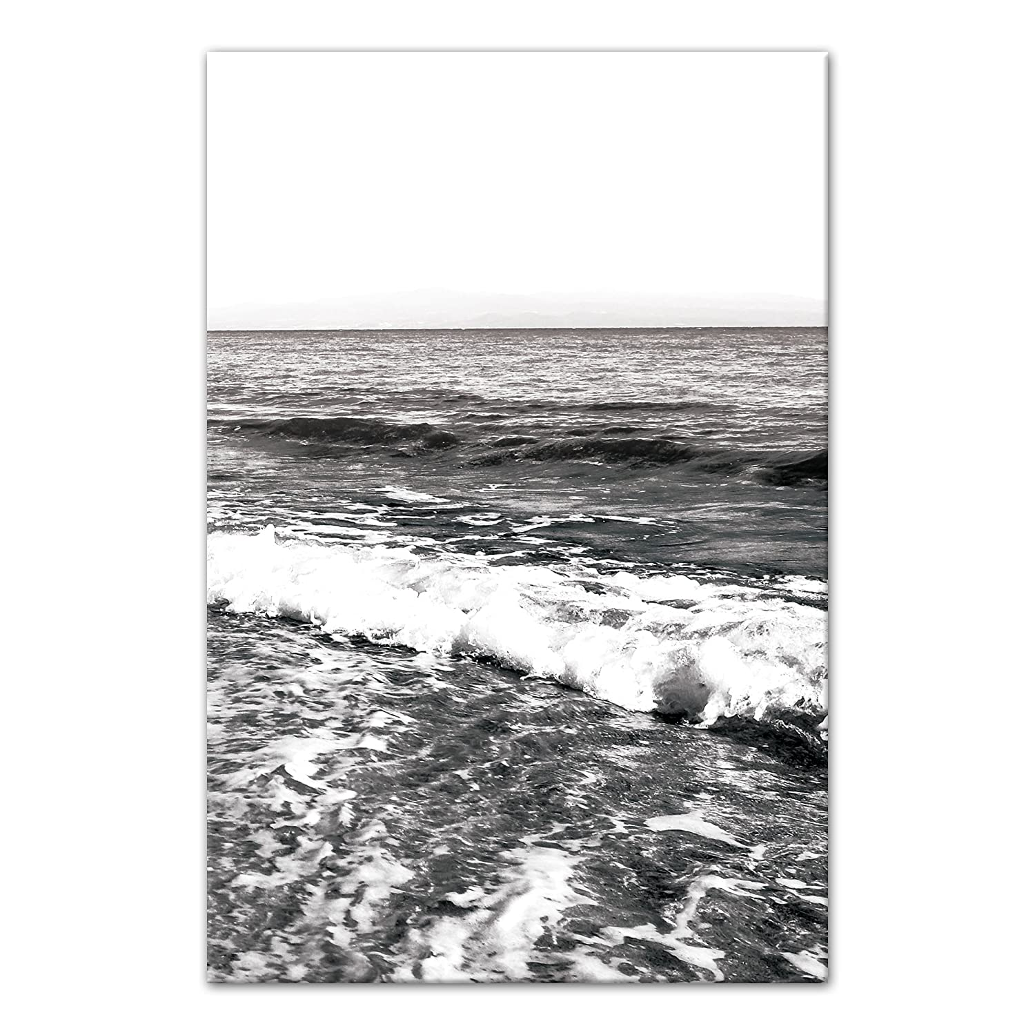 Amazon com black and white ocean waves 12x18 canvas wall art