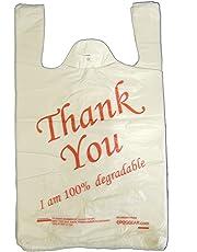"""EPOSGEAR® - Confezione da 100 sacchetti di plastica ecologica, 100% biodegradabile, con scritta in inglese """"Thank You"""", misura grande, colore: Bianco/Rosso"""