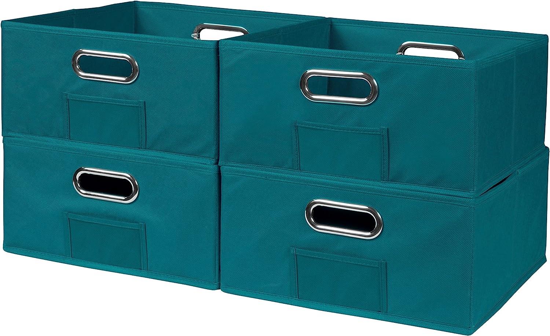 Niche Cubo Half-Size Foldable Fabric Storage Bins (Set of 4), Teal