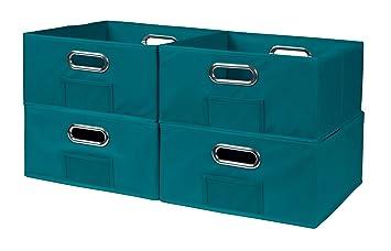 Niche Cubo Half Size Foldable Fabric Storage Bins (Set Of 4), Teal