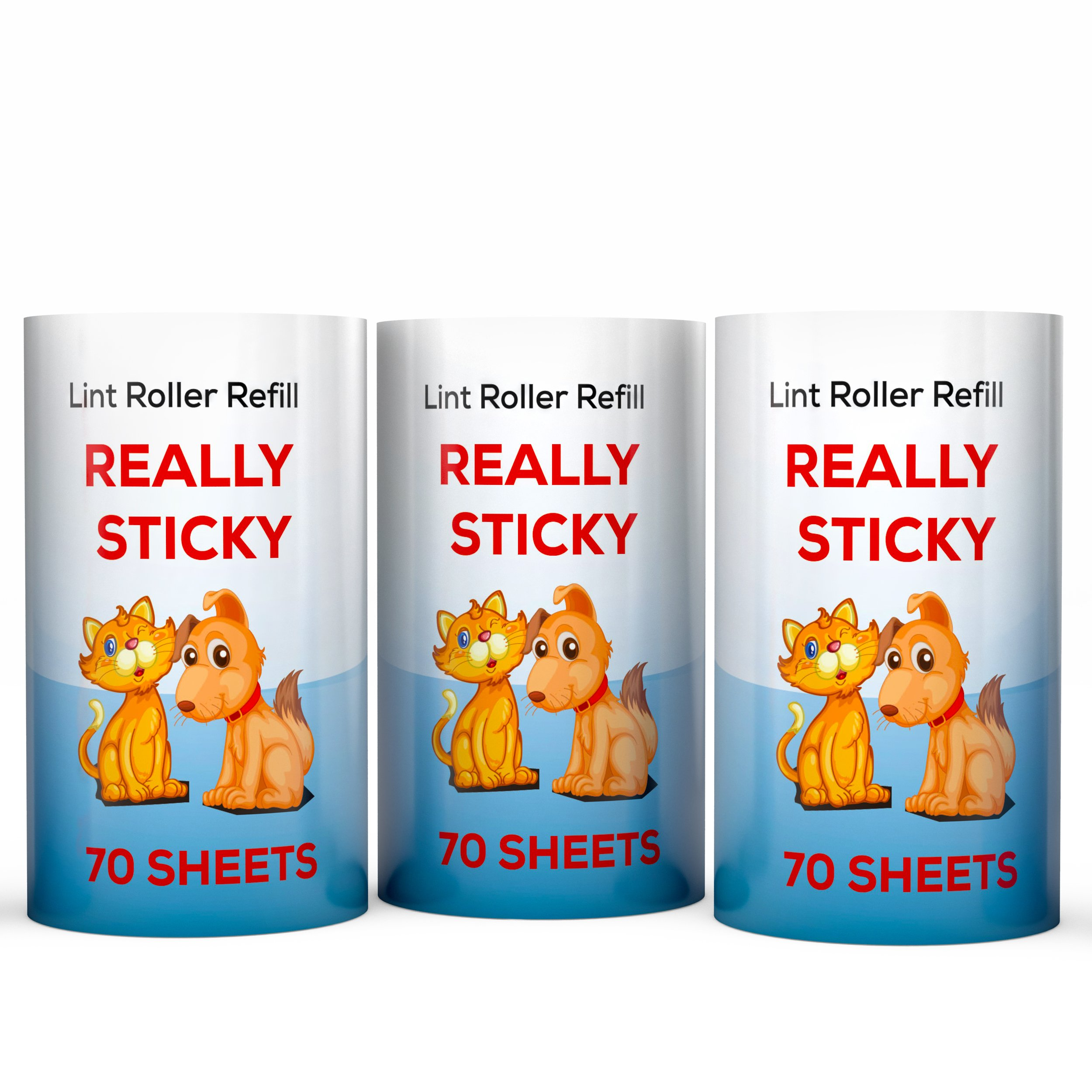 Really Sticky Tape Roller Refills for Pet Hair Roller - Best Pet Hair Removal Sheets if You Need Lint Rollers Extra Sticky - HUGE 3 PACK - 210 Sheets - Lint Refills fit all standard size Lint Rollers