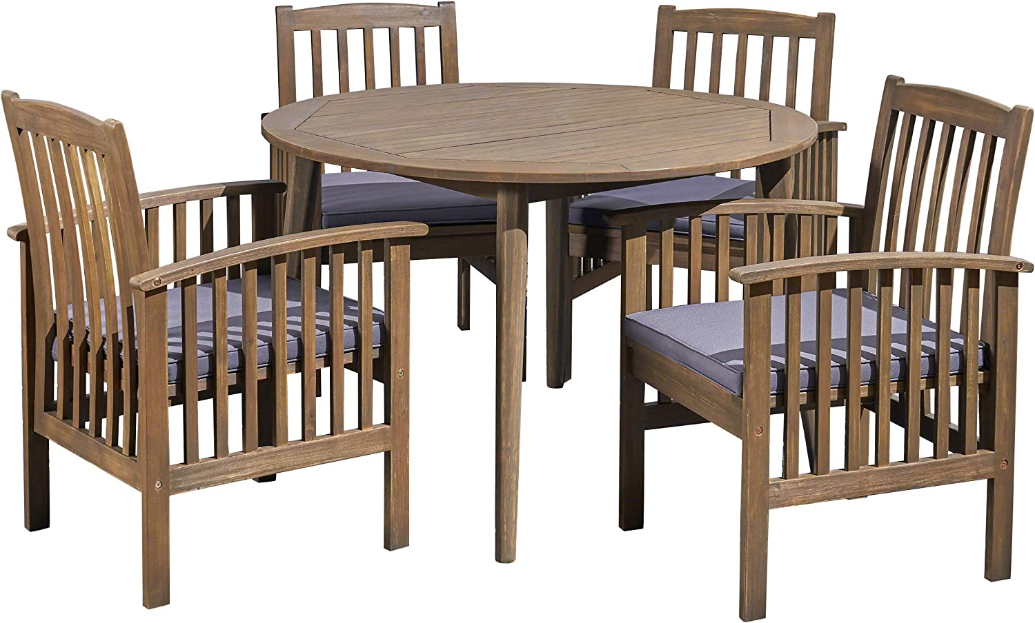Great Deal Furniture Alma Acacia Patio Dining Set, 4-Seater, 47 Round Table with Straight Legs, Gray Finish, Dark Gray Outdoor Cushions