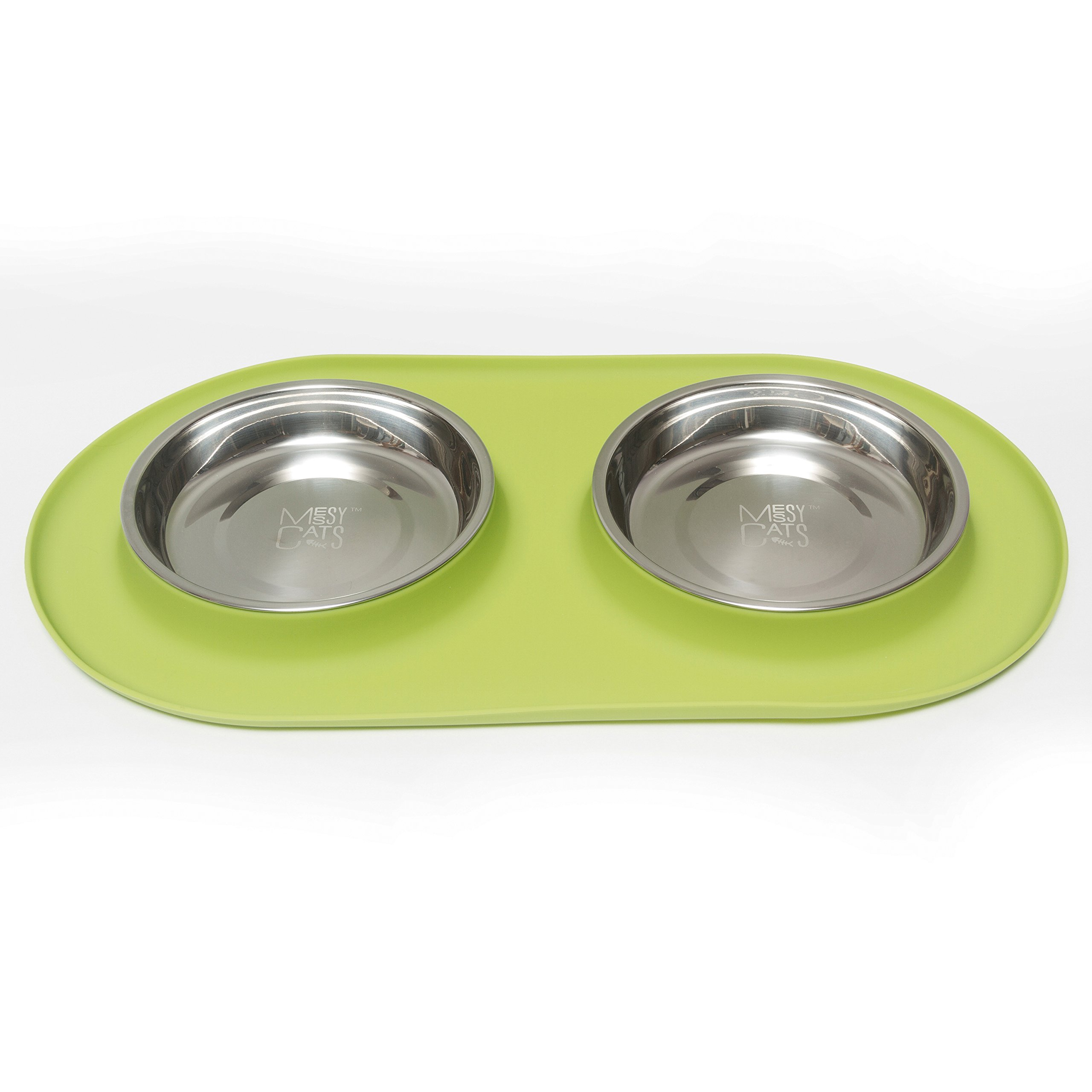Messy Mutts Stainless Steel Double Cat Feeder with Non-slip Silicone Base, Medium, Green