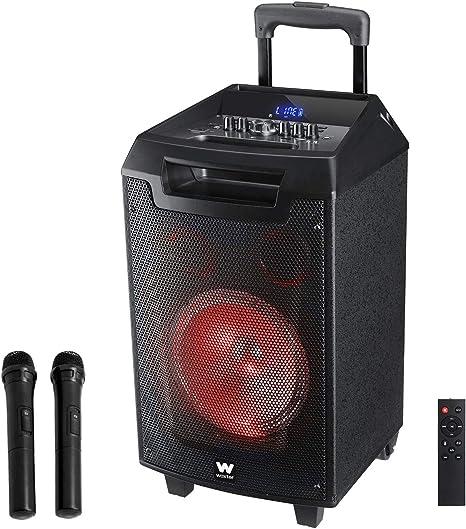 Woxter RocknRoller - Altavoz trolley con función karaoke, Potencia de 80W, Display Led, Bluetooth, Lector SD/USB, AUX, Prioridad Mic, Mando a distancia, Batería de alta capacidad y 2 micrófonos inalámbricos: Woxter: Amazon.es: