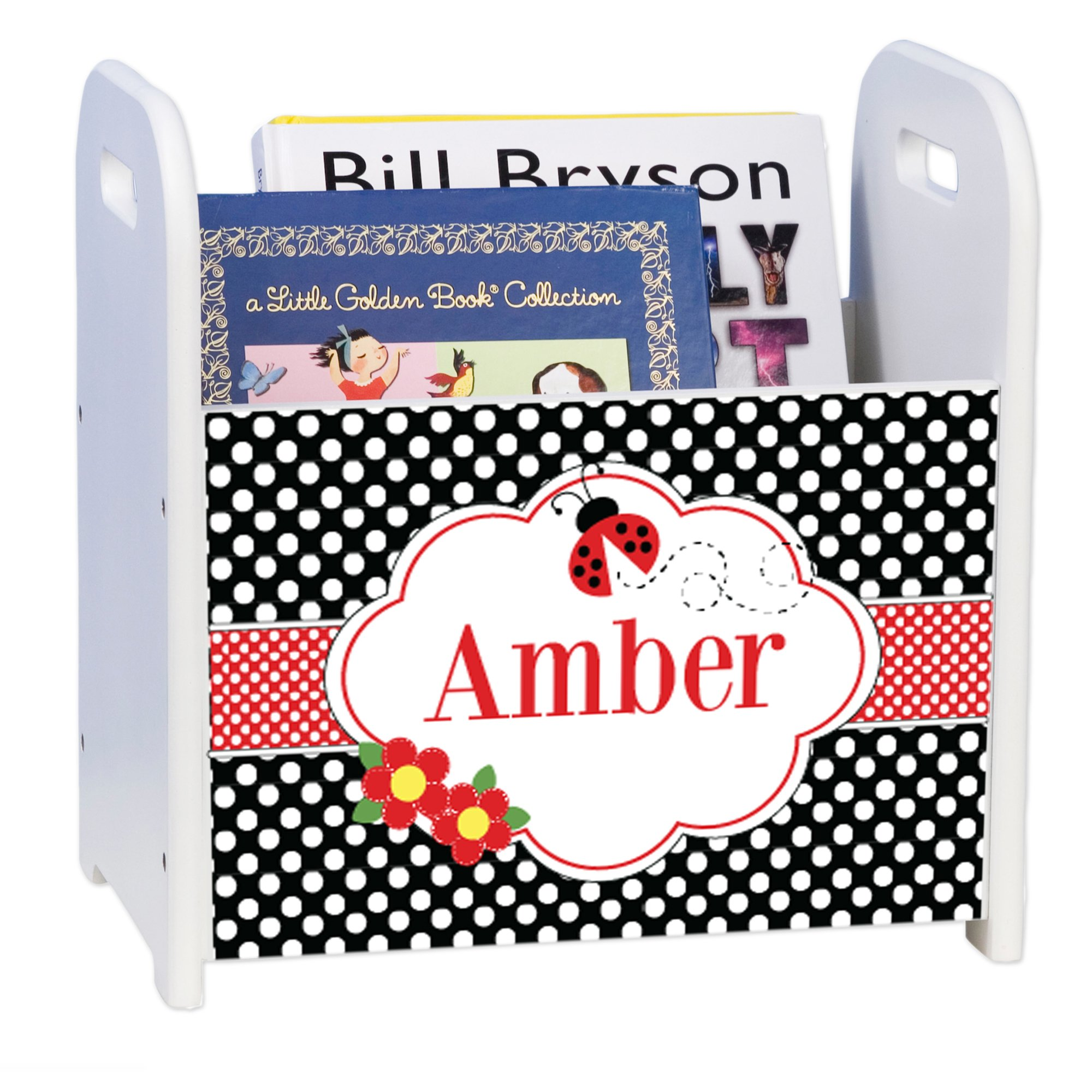 Personalized Red Ladybug Dots White Book Caddy and Rack