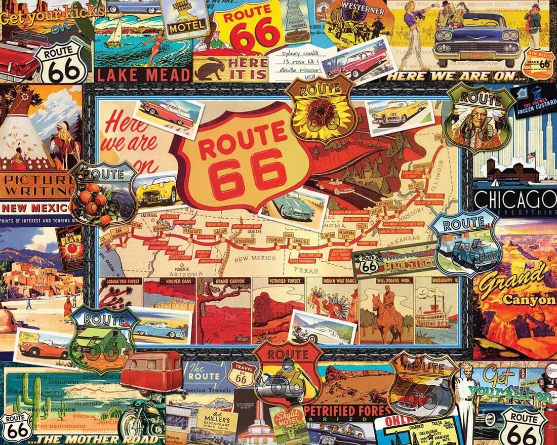White Mountain Puzzles Route 66 - 1000 Piece Jigsaw Puzzle