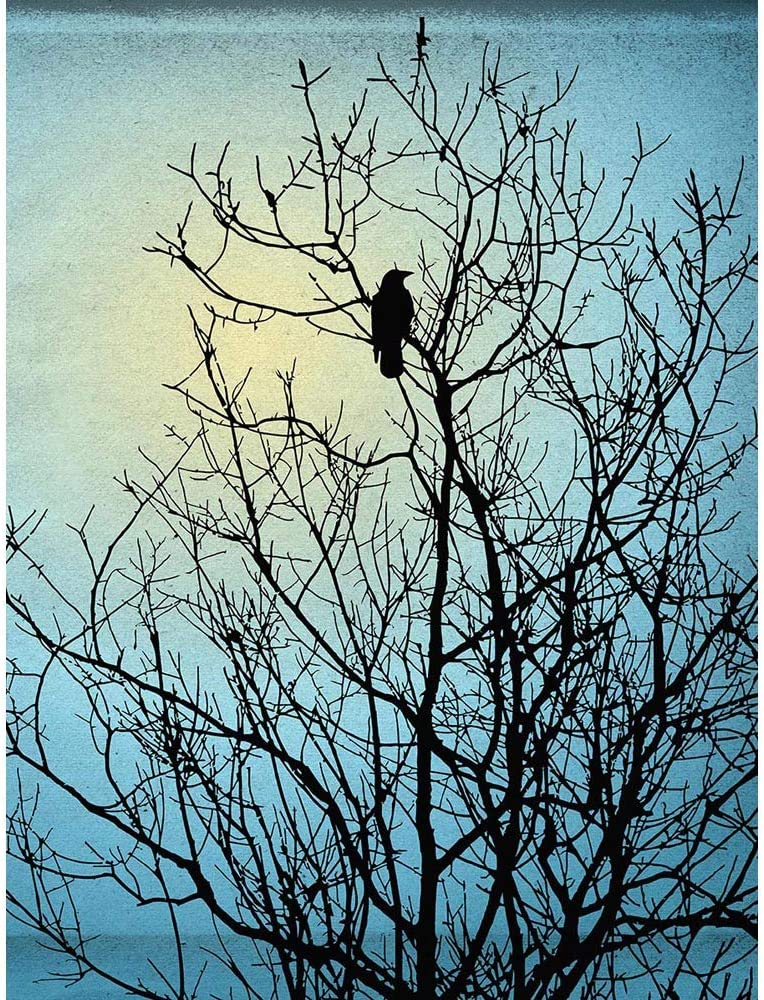 Black Tree Blue Illustration Raven Silhouette Unframed Wall Art Print Poster Home Decor Premium