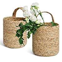 Deals on 2-Pk POTEY 730201 Seagrass Woven Hanging Basket Medium + Large