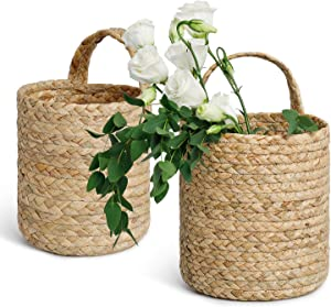 POTEY 730201 2pack Seagrass Woven Hanging Basket - Woven Fern Hanging Storage Basket Bin for Flower Plants Clothes, Brown(Medium+Large, Plant NOT Included)