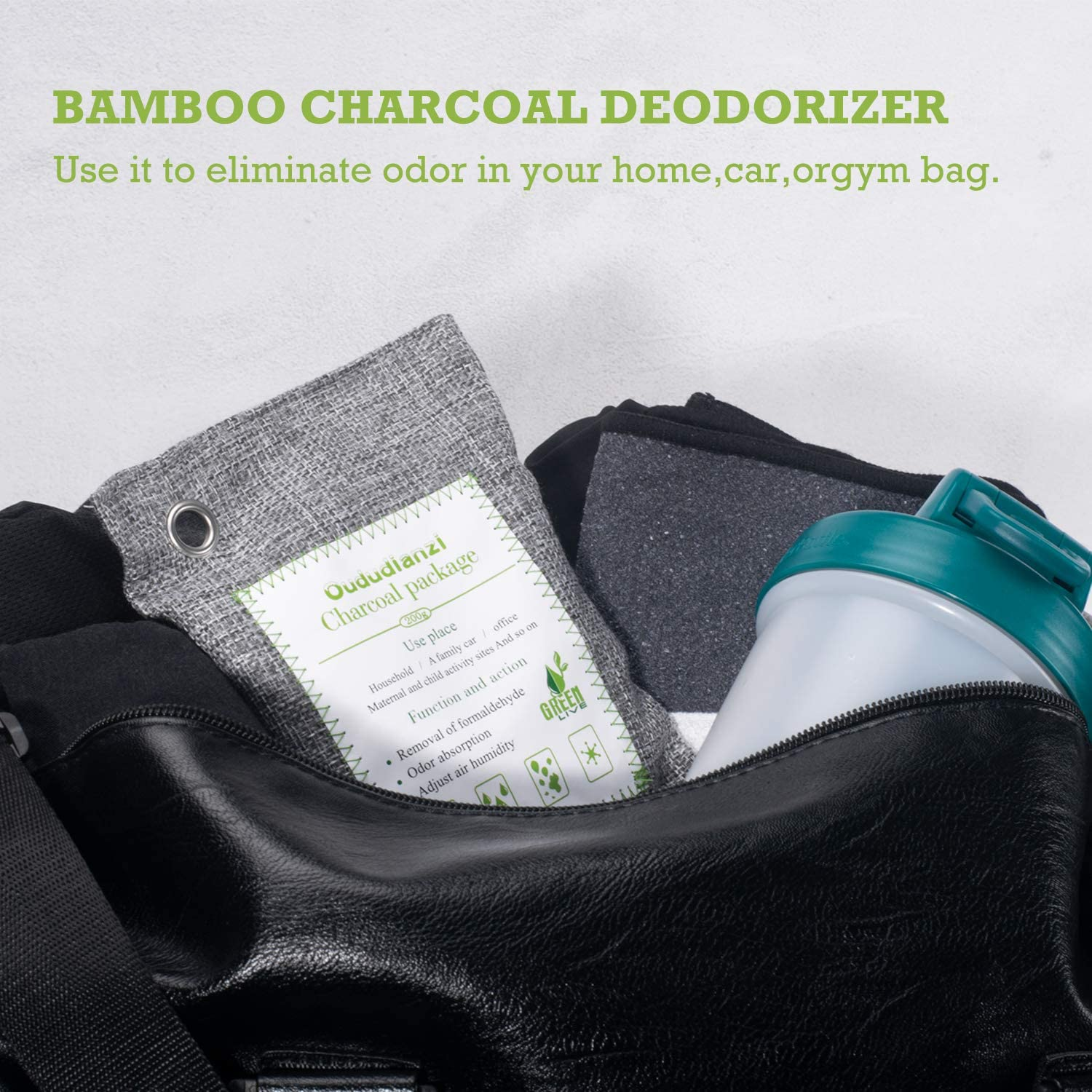 Shoes Natural Air Purifying Bundle with S Hooks Car Moisture Absorbent Odor Eliminator for Gym Bags 8 Pack Bathroom Duboch/é Bamboo Charcoal Bags for or Pet Areas