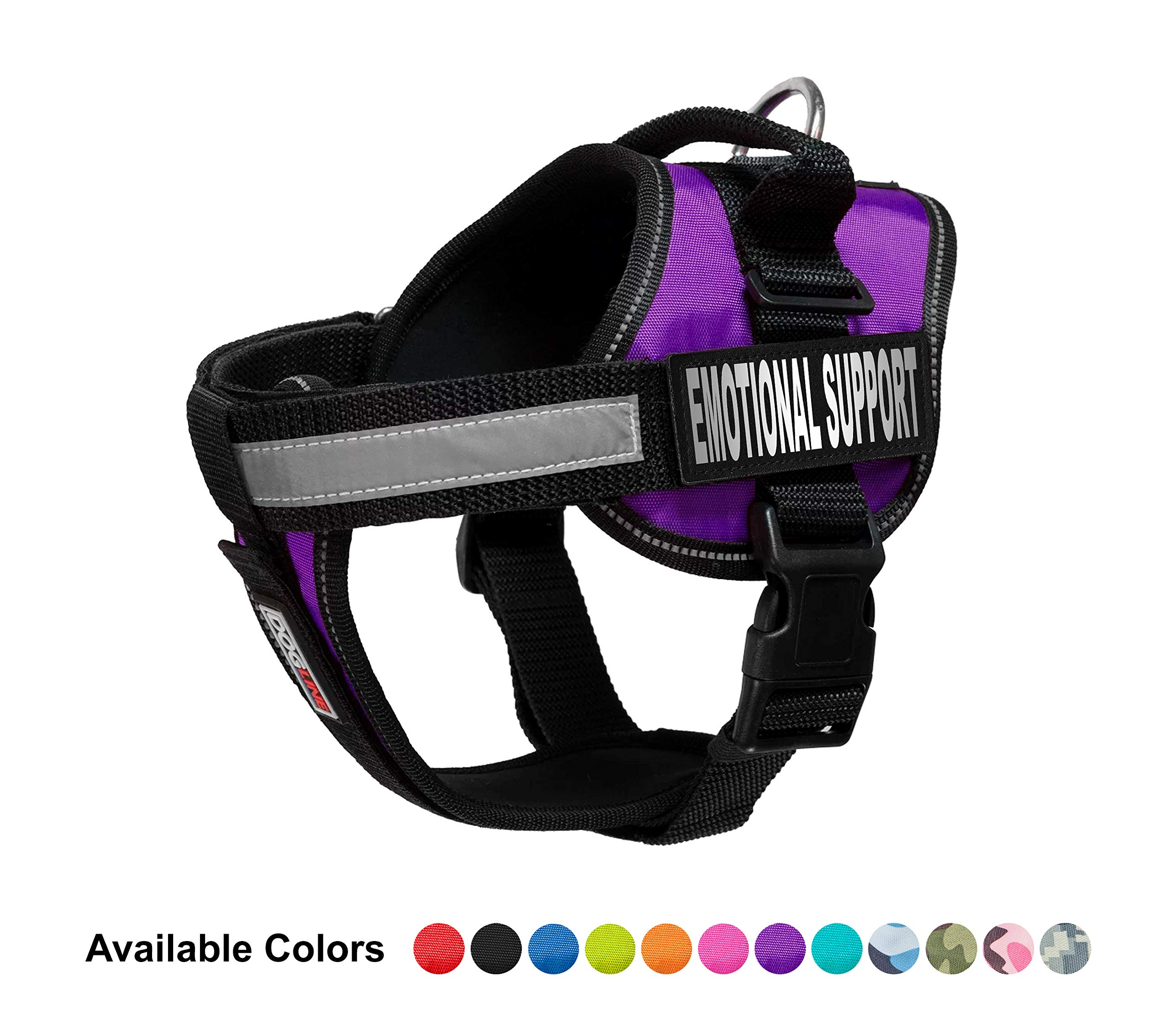 Dogline Vest Harness for Dogs and 2 Removable Emotional Support Patches, Medium/22 to 30'', Purple