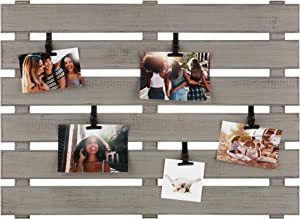 Gallery Solutions Wood Pallet Collage Picture Adjustable Clips Frames, Gray