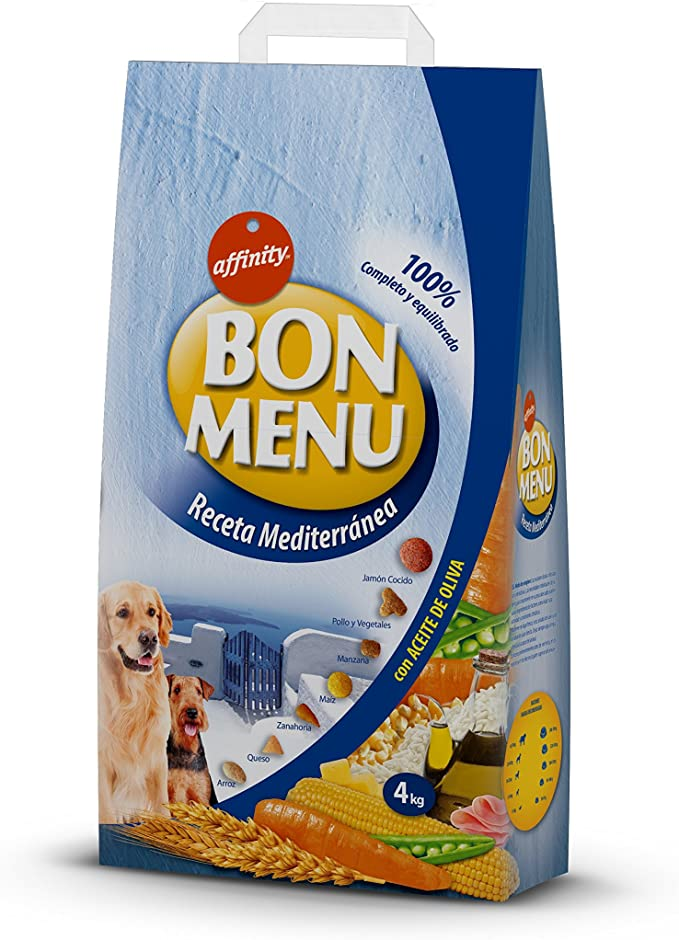 affinity Bon Menu - Receta Mediterránea - Alimento Completo para Perros Adultos - 4 Kg: Amazon.es: Productos para mascotas