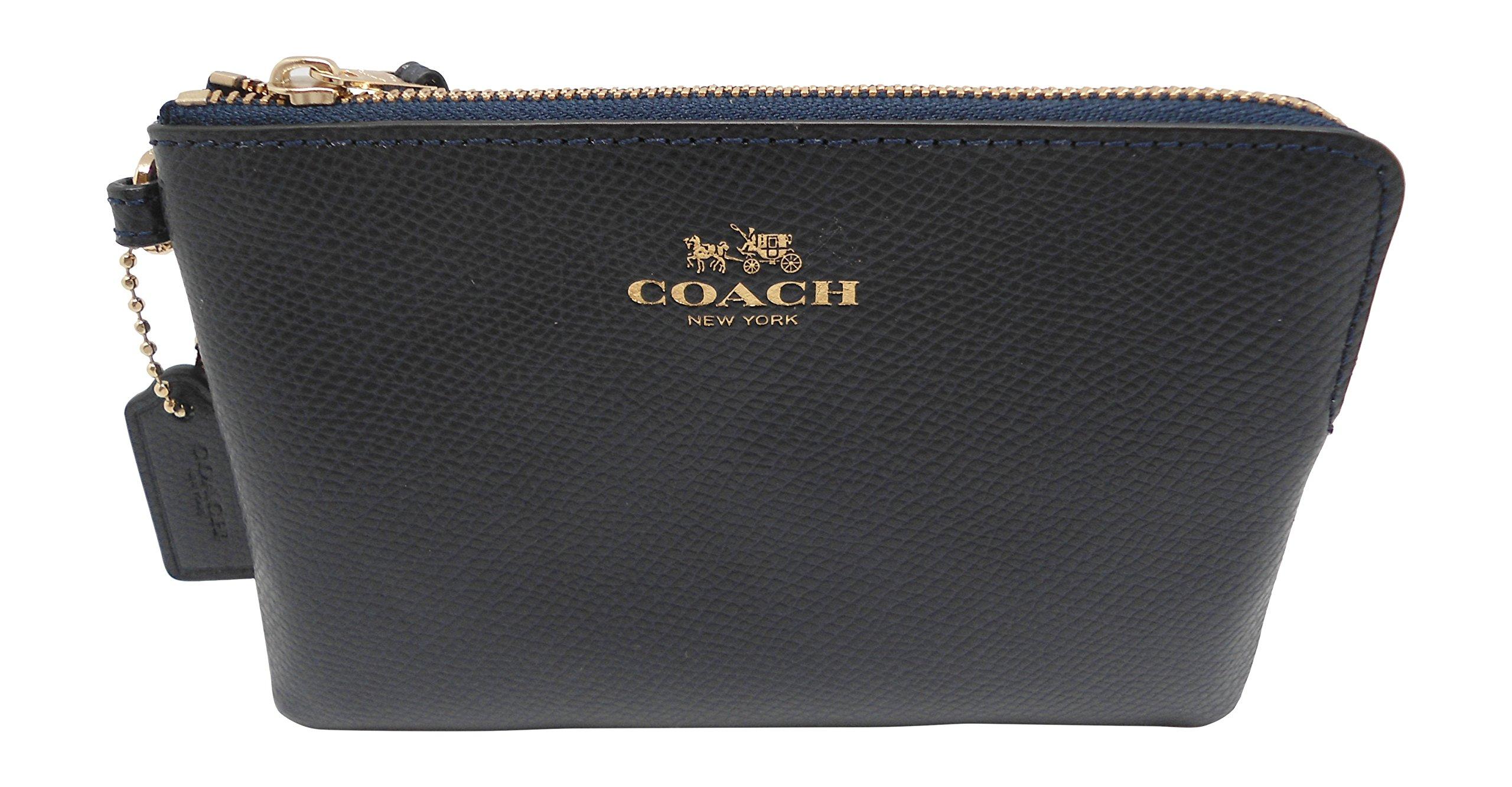 Coach Crossgrain Leather Corner Zip Wristlet Midnight