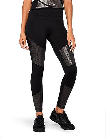 Marque Amazon AURIQUE Legging de Sport Taille Haute Empiècements Brillants Femme