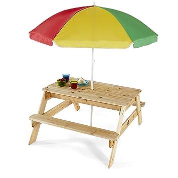 Plum Children S Garden Picnic Table With Parasol Amazon Co Uk