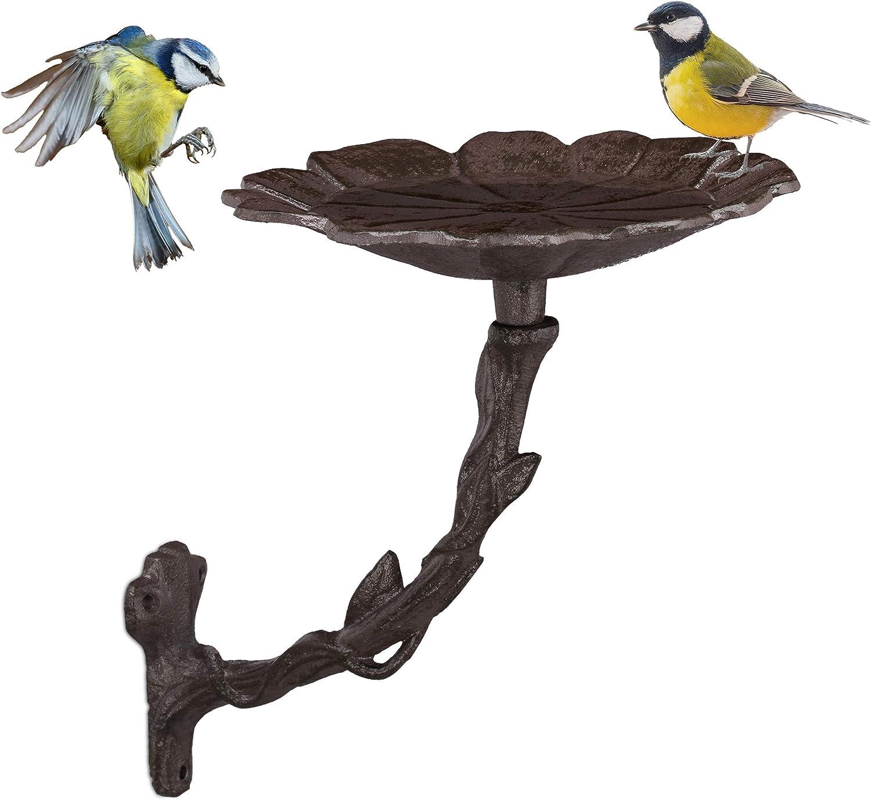 Relaxdays, Marrón, Bebedero Pájaros de Pared, Hierro Fundido, 20 x 17 x 21 cm: Amazon.es: Jardín