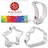 Ann Clark Cookie Cutters 3-Piece Twinkle Little Star Cookie Cutter Set with Recipe Booklet, Star, Moon