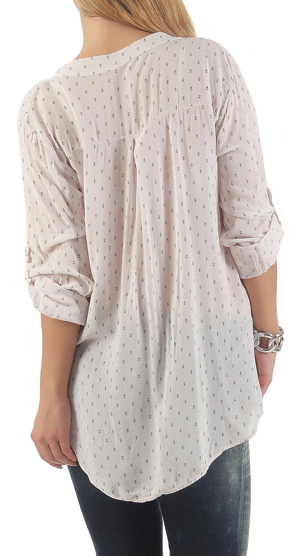 Malito dam blus med ankartryck   tunika med ärmar   blusskjorta också lång ärm bärbar   Elegant – tröja 9013 ROSA