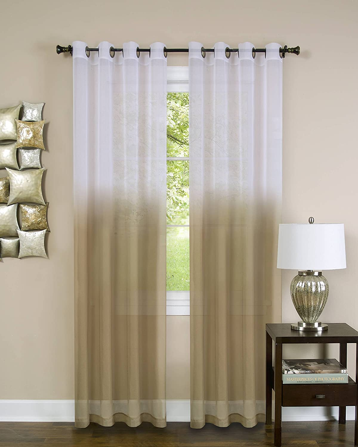 Amazon Essential Home Set Of 2 Ombre Sheer Window Curtain Panels 52 X 84