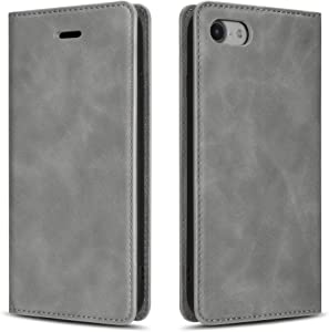 QLTYPRI Case for iPhone 7 8 SE 2020, Premium PU Leather Cover TPU Bumper with Card Holder Kickstand Hidden Magnetic Adsorption Shockproof Flip Wallet Case for iPhone 7 8 SE 2020 - Grey