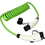 Coiled / Spiral Fast Charging EV Cable 32amp/8meter 7.2kW J1772 Type 1 to Mennekes Type 2 with Carry Case