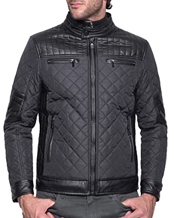 29cd06a6c Legenders - Zipped Quilted Black Jacket - Color: Black, Size: XXL:  Amazon.co.uk: Clothing