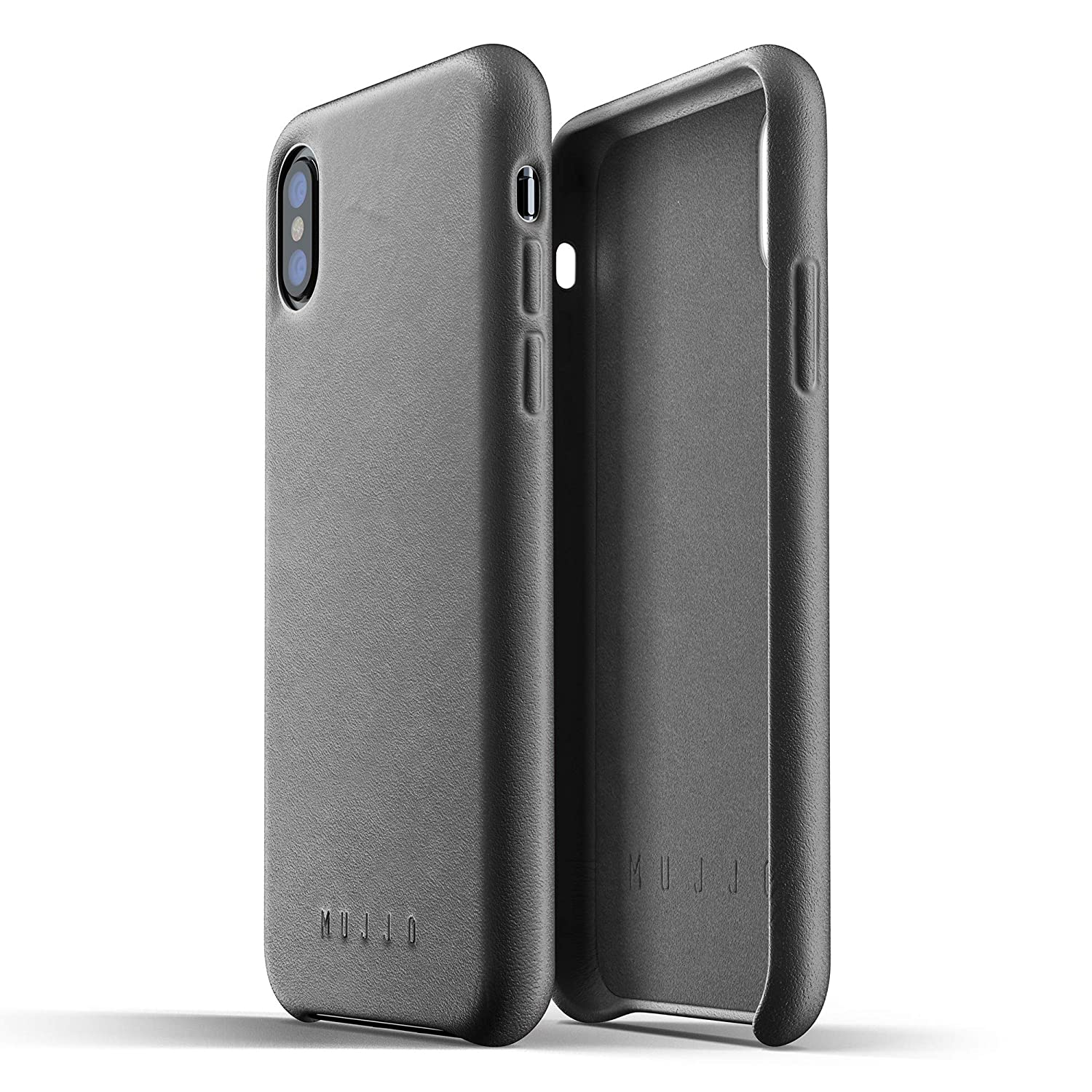 cheaper 0a65e 165a5 Mujjo Full Leather Case for iPhone Xs, iPhone X | Covered Buttons, 1MM  Protective Screen Bezel, Japanese Suede Lining (Grey)