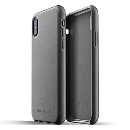 Mujjo Full Leather Case for iPhone Xs, iPhone X | Premium Genuine Leather,  Natural Aging Effect | Slim, Leather Wrapped, Wireless Charging (Gray)