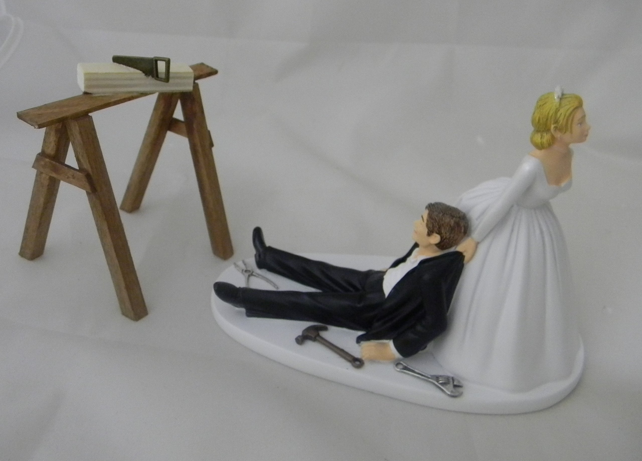 Wedding Reception Party Shop Garage Saw Horse Tools Carpenter Cake Topper