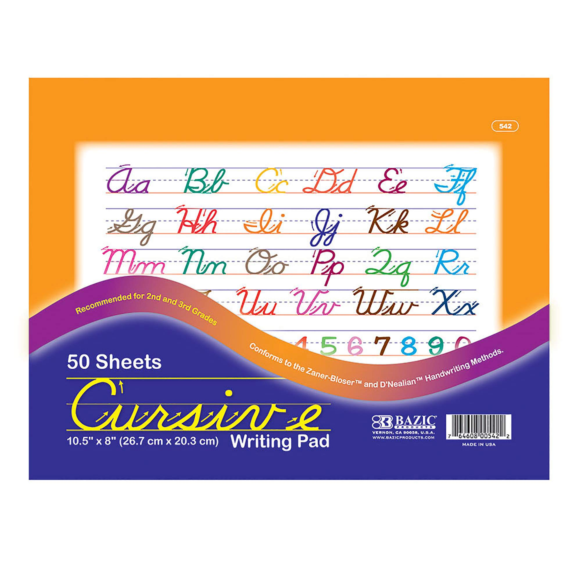 BAZIC 50 Ct. 10.5'' X 8'' Cursive Writing Pad (Case of 48) by B BAZIC PRODUCTS