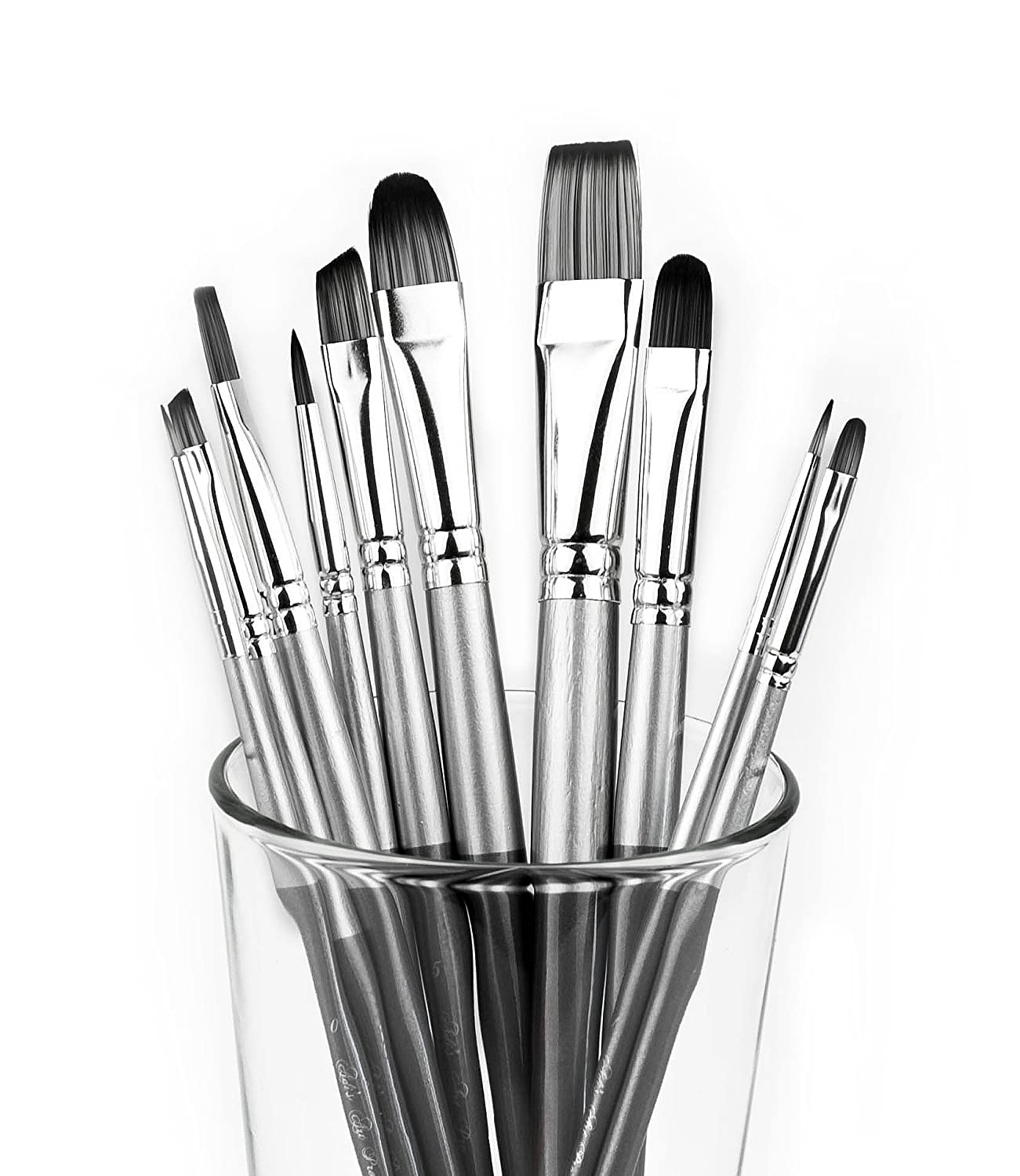 Adi's Art Pro Paint Brushes Set for Acrylic Oil Watercolor, Artist Face and Body Professional Painting Kits with Synthetic Nylon Tips, 10 Pieces (gray) Adi' s store 4336957894