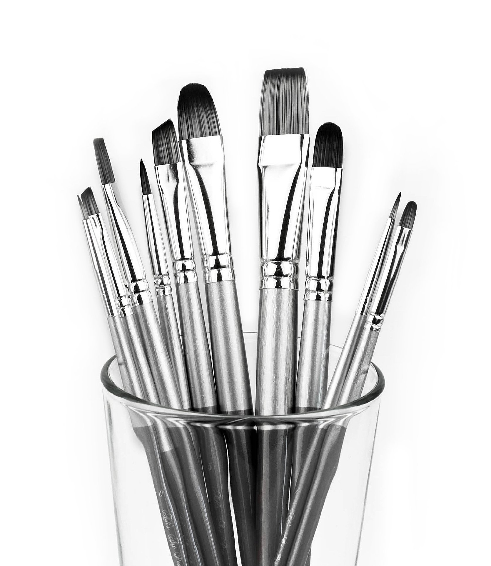 Adi's Art Pro Paint Brushes Set for Acrylic Oil Watercolor, Artist Face and Body Professional Painting Kits with Synthetic Nylon Tips, 10 Pieces (gray)
