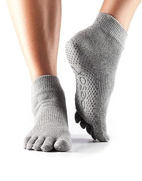 Calcetines ToeSox con puntera tobillera completa para yoga, pilates, barre, calcetines antideslizantes de fitness - 1 par (Grey, Small): Amazon.es: Deportes ...