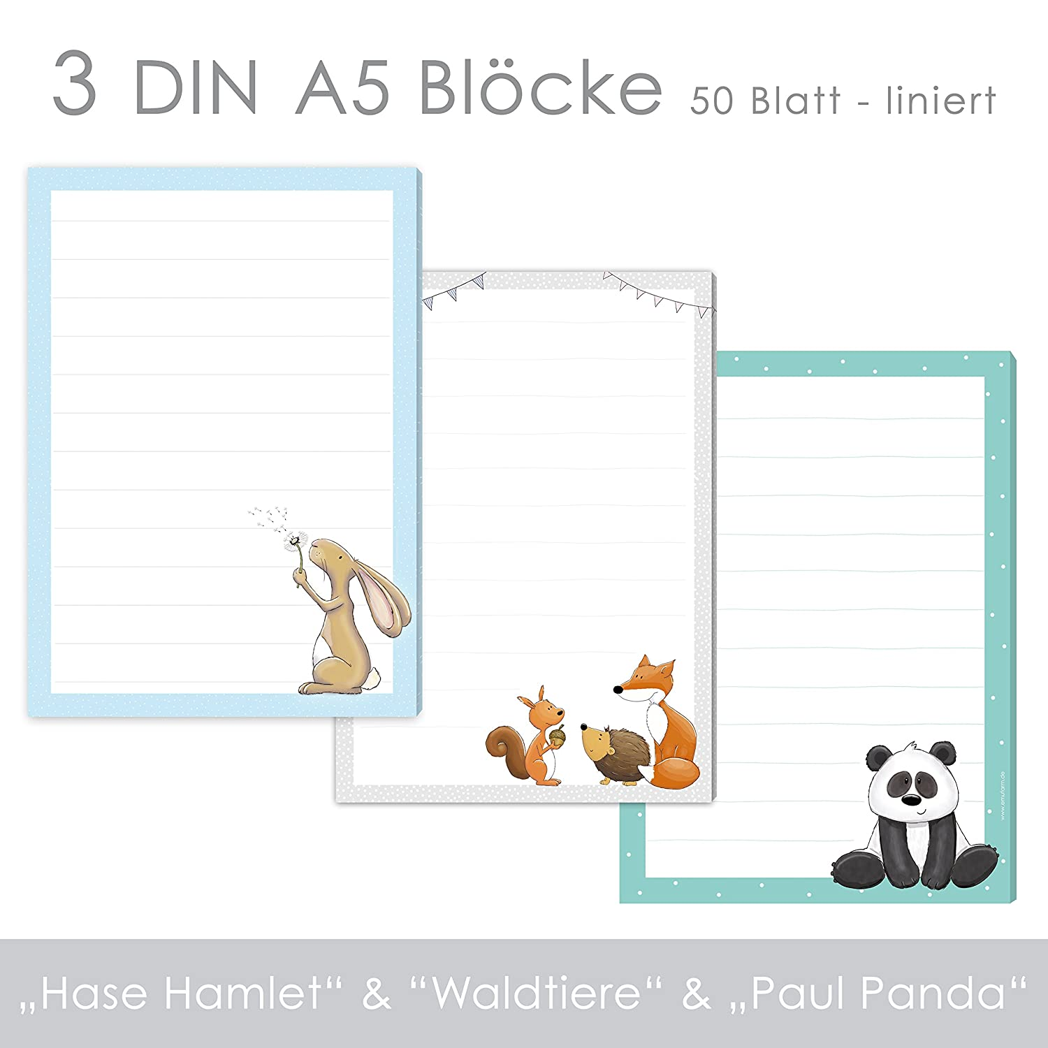 '3 x& Paul Writing Pad Bunny Hamlet &Forest Animals Panda Children, Writing Paper, Letter Paper DIN A5 Ruled 50 Sheets/Pad emufarm