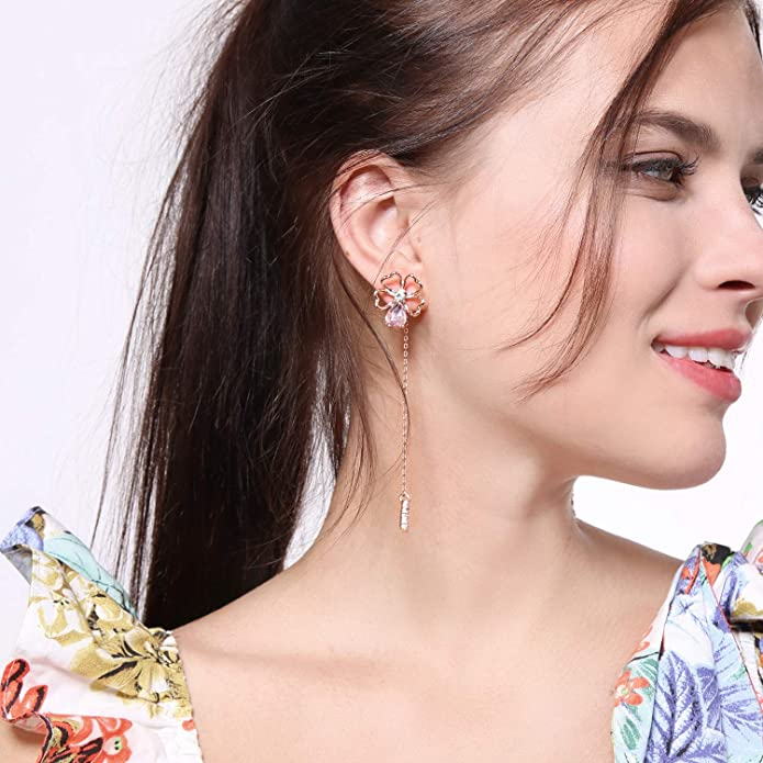 Miss Kiss 925 Silver Post Glass Crystal Flower Dangle Drop Earrings Jewelry for Womens Girls ED01568c