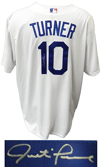 c69f4762a ... italy justin turner signed los angeles dodgers white majestic replica  jersey 58fac 4ee2e