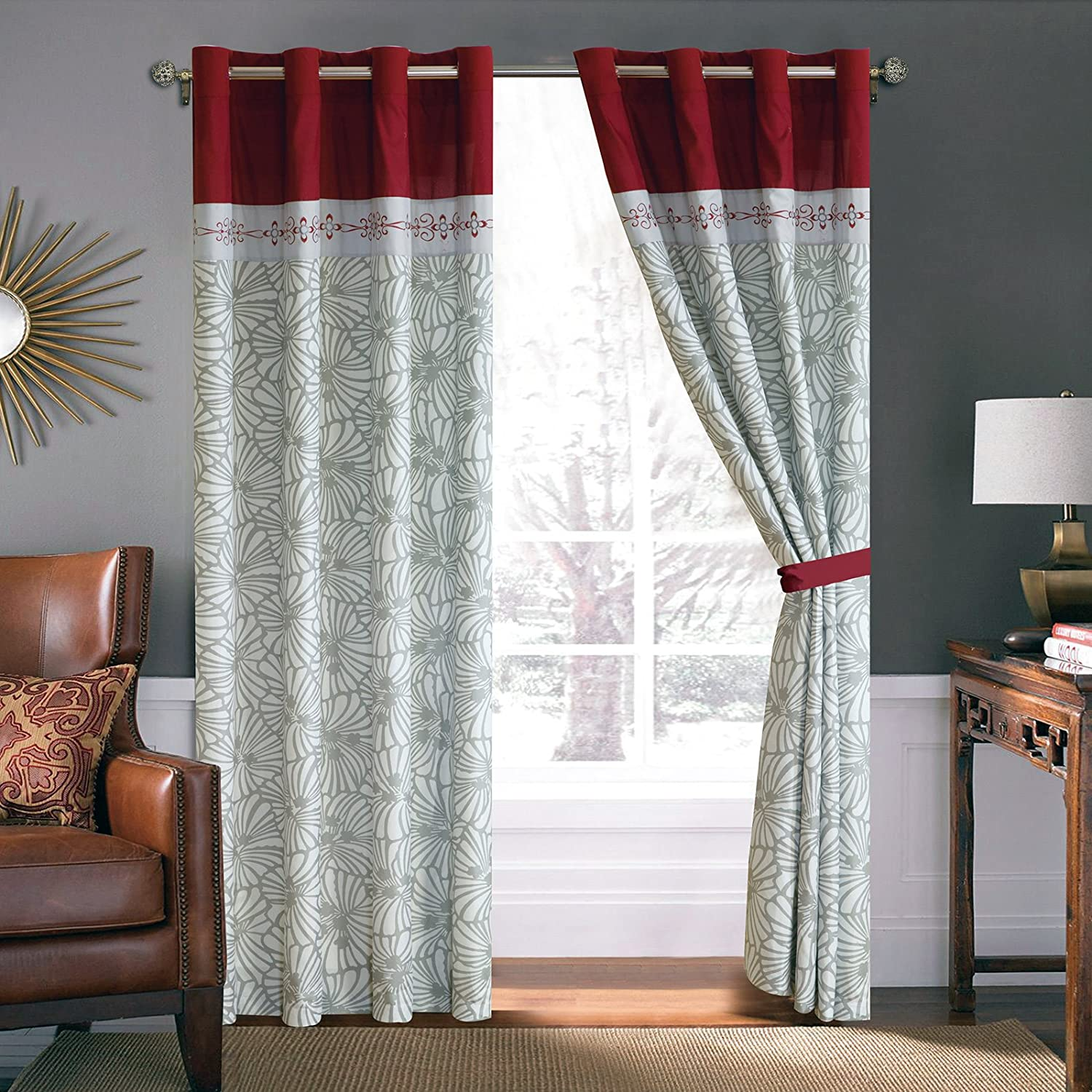 Red Burgundy Floral Window Curtains Ease Bedding With Style