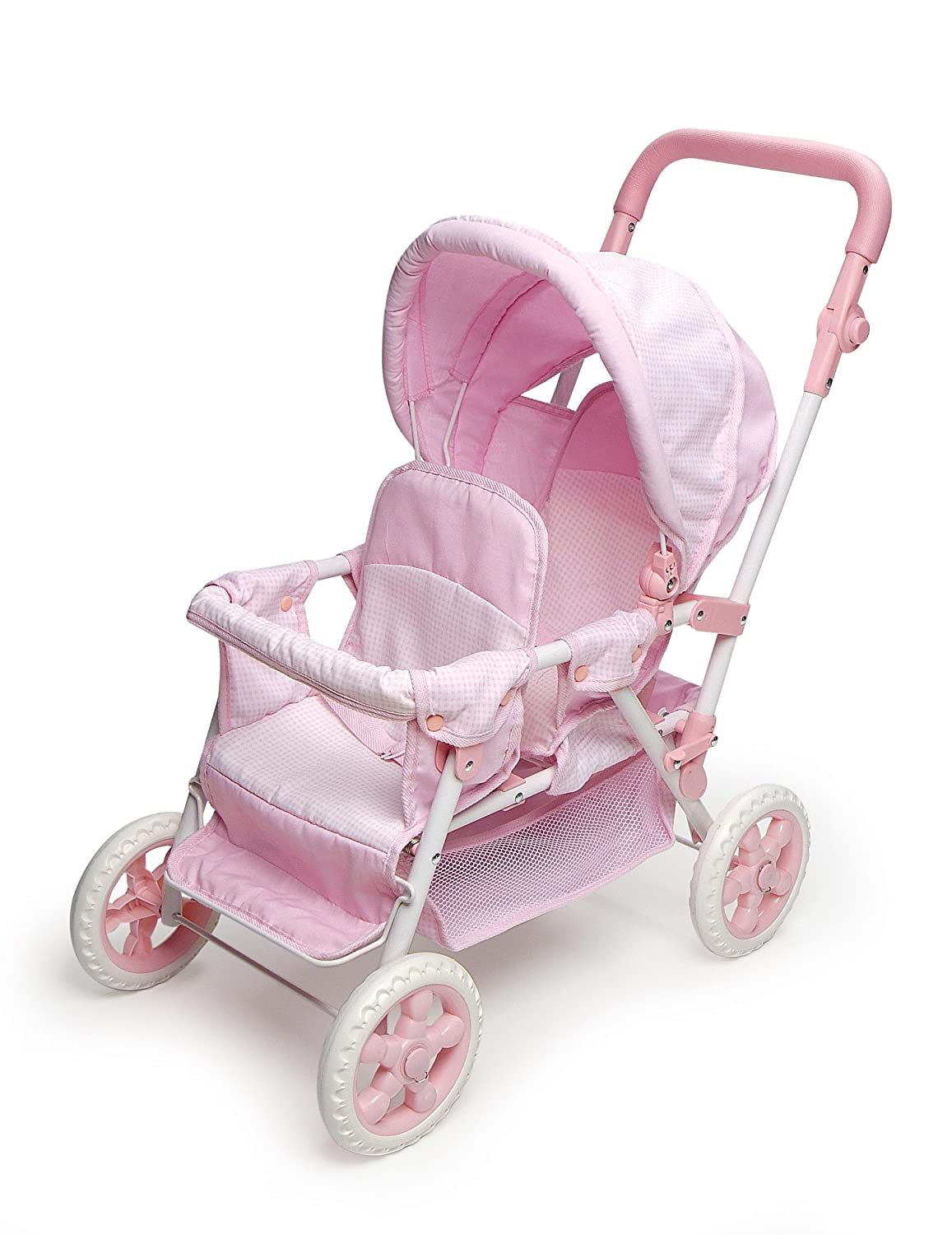 Badger Basket Folding Double Front-to-Back Doll Stroller (fits American Girl dolls), Pink/White