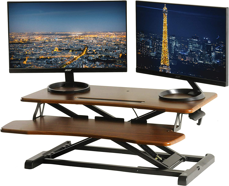 """TechOrbits Standing Desk Converter - 32"""" Height Adjustable Stand Up Desk Riser - Wood Brown Sit to Stand Desktop Workstation"""
