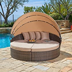 Outdoor Round Daybed with Canopy