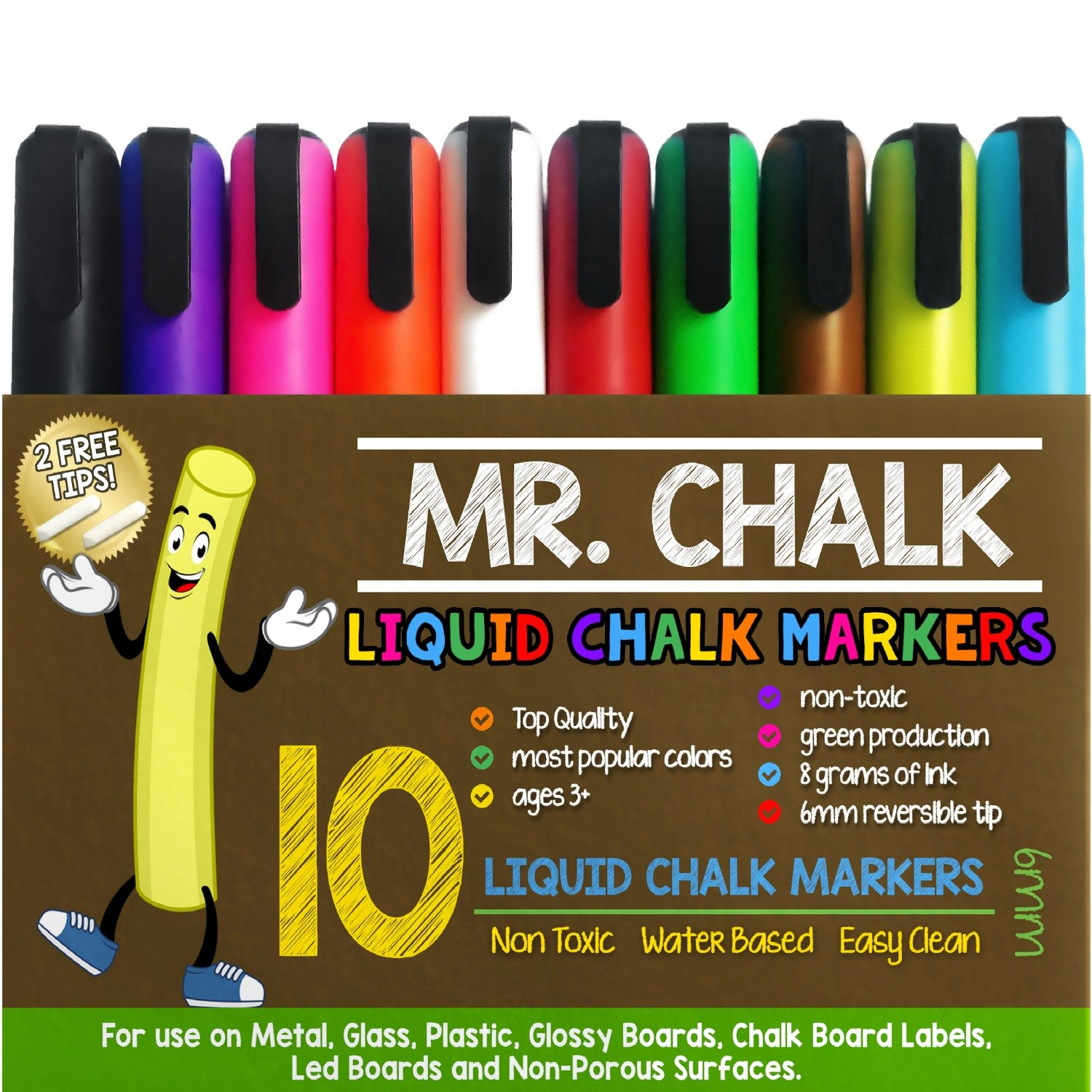 Mr. Chalk 10 Pack of 6MM Liquid Dustless Erasable Chalk Markers by School Smarts. Best Used for Menu Chalkboards, Bistro Signs, Glass, Metal, Chalkboard Contact Paper, Decorations and Holiday Crafts. Large 10 Pack with Reversible Tips. Great for Home,Offic