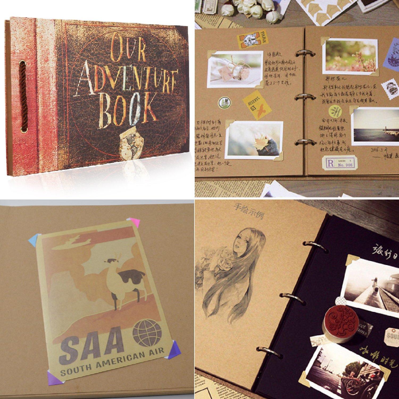 LoiZau Photo Album DIY Family Handmade Self-adhesive Albums Our Adventure Scrapbook for Store Present Anniversary Wedding Guest Book Vacation Memories