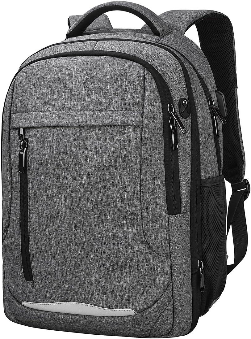 NEWHEY Mochila Portátil Hombre Impermeable Backpack para 15,6 Pulgadas Ordenador USB Puerto Casual Deporte Negocios Escolares Viaje Trabajo Daypack Gris